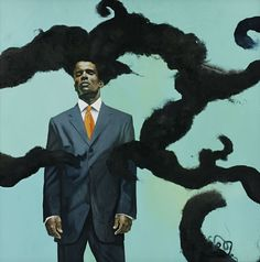 <p>Kehinde Wiley (American, b. 1977). <em>Conspicuous Fraud Series #1 (Eminence)</em>, 2001. Oil on canvas, 79<sup>1</sup>⁄<sub>2</sub> x 79<sup>1</sup>⁄<sub>2</sub> x 3<sup>1</sup>⁄<sub>2</sub> in. (201.3 × 201.3 × 8.3 cm). The Studio Museum in Harlem; Museum purchase made possible by a gift from Anne Ehrenkranz. © Kehinde Wiley</p>