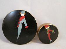 Vintage art deco powder box tin compact painted enamel ladies (2) Rare!