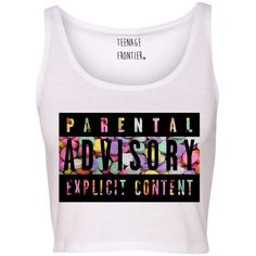 Parental Advisory Candy Hearts Tank CROP TOP (490 UYU) ❤ liked on Polyvore featuring tops, shirts, crop tops, crop, tank tops, cropped tank top, poly cotton shirts, cropped tops, muscle tshirt and heart print shirt