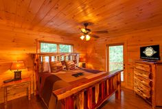 """Main Level King Bedroom with Luxury Linens features 32"""" TV and Access to Main Floor Bath Blue Ridge Cabin Rentals, Georgia Cabin Rentals, King Bedroom, Window Wall, Luxury Linens, Log Homes, Lodges, My Dream Home, Floor"""