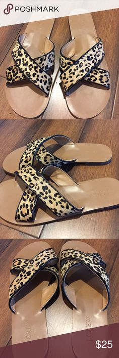 Leopard Seaside Sandal Cross front strap. Upper calf hair. Adorable and so comfy. True to size. Good condition. J. Crew Shoes Sandals
