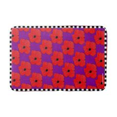 #Purple and Really Red Poppy Bath Mat - #Bathroom #Accessories #home #living