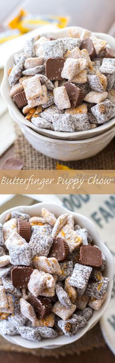 This easy puppy chow recipe is full of chocolate, peanut butter, and both Butterfinger Fun-Sized Candy Bars and Butterfinger Peanut Butter Cup Minis. (I hate calling this kind of snack puppy chow. Dessert Dips, Dessert Parfait, Dessert Aux Fruits, Köstliche Desserts, Plated Desserts, Easy Puppy Chow Recipe, Puppy Chow Recipes, Chex Mix Recipes, Snack Recipes