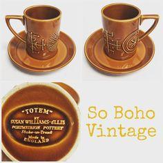 """#forsale #sobohovintage #vintage #portmeirionpottery #susanwilliamsellis #60s #midcentury #totem #coffeecup #saucer #forsale #£9plusp&p  #3setsinstock #midcenturyhome #midcenturydesign #midcenturyhome #midcenturyceramics #midcenturyinteriors #vintagehomewares #derby #derbyshire #findusonfb  www.sobohovintage.co.uk"