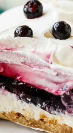 Blueberry Delight ~ Creamy and delicious with 4 awesome layers... Perfect for potlucks and picnics and it is a breeze to put together.