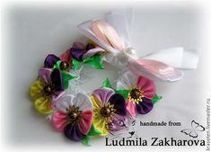 """Купить Резинка на пучок """"Милые цветочки"""" - сиреневый, украшение для волос, для школы, для школьницы, выпускной"""