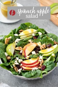 Spinach Apple Salad is something that everyone in the family will love! It's nutritious, delicious and perfect alongside any meal! #saladrecipes #vegetarianrecipes #glutenfree Salads For A Crowd, Salad Recipes For Dinner, Delicious Dinner Recipes, Easy Salads, Healthy Salad Recipes, Vegetarian Recipes, Spinach Apple Salad, Sweet Recipes, Whole Food Recipes