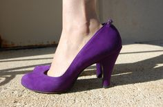 Fabulous 40s 50s Purple Suede heels and by FrocksnFrillsVintage