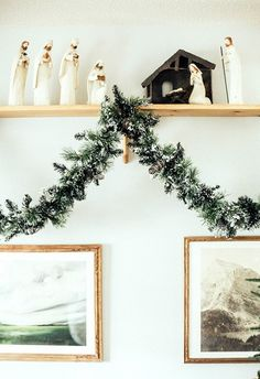 Snowy garland and a darling nativity set