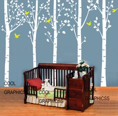 Five Large birch tree  - 98 inches tall  -Vinyl Wall Decal Sticker Art, Mural,Wall Hanging. $95.00, via Etsy.