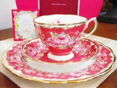 NEW Royal Albert Floral Sentiments Happiness Pink Roses Trio TEA CUP SET RP $145 | eBay
