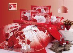 高品質赤いバラ漫画プリント-ウェディングコットン寝具セット(4個)