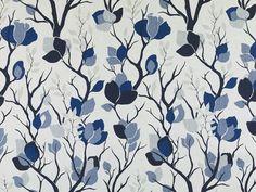 Navy Floral Linen Curtain Fabric Custom by PopDecorFabrics