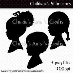 Children's Silhouettes, Silhouettes, Silhouette Clip Art, Silhouette Graphics, Instant Download, Downloadable Graphics, Digital Scrapbooking