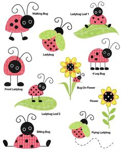 Cute Ladybugs APPLIQUE Machine Embroidery Designs by SewWithLisaB