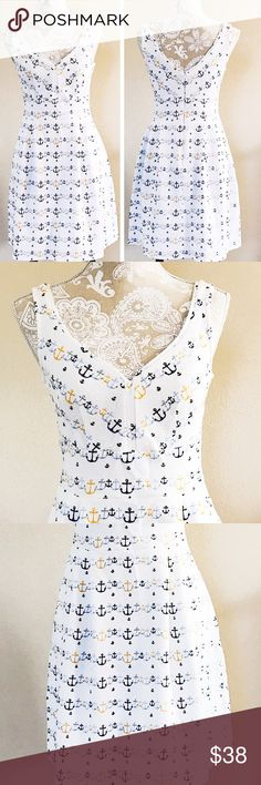 """Maison Jules white sundress Brand new with tag. 70% cotton 28% polyester 2% spandex. Hidden back zip closure and 2 side pockets. Waist 28"""" bust 36"""" and will stretch more. Length 35"""". No trades 🌹 Maison Jules Dresses Midi"""