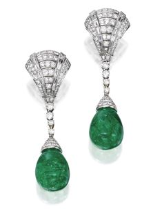 PAIR OF PLATINUM, EMERALD AND DIAMOND PENDANT-EARRINGS.   Withtwo cabochon emerald drops measuring approximately 18.0 by 16.4 by 14.6 mm and 18.0 by 16.4 by 14.8 mm, capped and suspended by numerous round diamonds weighing approximately 5.80 carats and numerous baguette diamonds weighing approximately 1.95 carats, pendants detachable,tops signed Mont Bulgari.