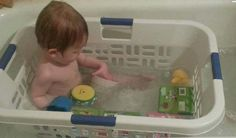 Prevent your kid's toys from floating away in the tub with an old laundry basket.