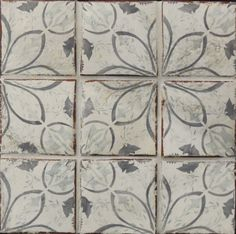 Antique style Terracotta tile inspired by portuguese azulejos