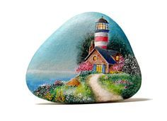 Painted stone, sasso dipinto a mano. Lighthouse