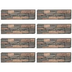 GenStone Stacked Stone Stratford 12 in. x 42 in. Faux Stone Siding Half Panel Dark Brown Base With Tan And Copper Highlights Stone Siding Panels, Faux Stone Siding, Faux Stone Walls, Front Porch Deck, Dry Stack Stone, Copper Highlights, Stone Interior, House Siding, Decks And Porches