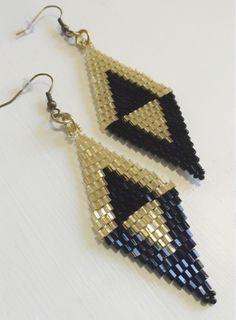 Black Gold Beaded Earrings Diamond Style Earings Art Deco Dangle Drop Jewelry Vintage Party