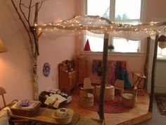 Magical tree fort in the nursery classroom at Seacoast Waldorf School.