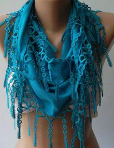 Blue - Pashmina and Elegance Shawl / Scarf with Lace Edge. $15.90, via Etsy.
