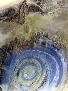 Located on the western edge of the Sahara desert at central Mauritania in NW Africa, there is a giant quartzite circle called Richat Structure. The diameter is approx. 38km.