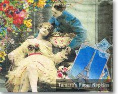 Love Couple Paris Napkins - Party World Shabby Chic Napkins, Umbrella Decorations, Party World, Paper Umbrellas, Paper Napkins For Decoupage, Love Couple, Luau, Vintage Paper, Etsy Seller