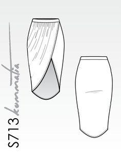 Wrap asymmetric skirt midi length - Kommatia