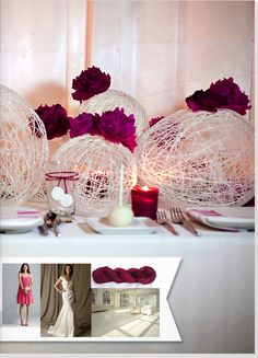 String dipped in glue wrapped around balloons. When dry, pop ballon, accent w/ flowers or candles. How cute!