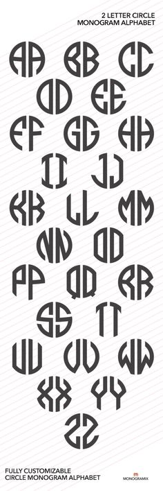 CIRCLE MONOGRAM VECTOR ALPHABET: 2 Letter Circle Monogram Alphabet. Includes…
