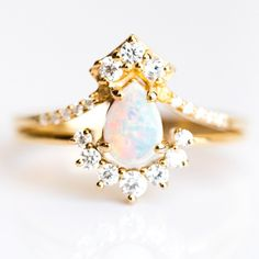 "La Kaiser Opal and Diamond ""Carpe Diem"" Gold Ring Stack – local eclectic Tai Jewelry, Fine Jewelry, Fairy Ring, Jewelry Companies, White Topaz, Stacking Rings, Ring Designs, Opal, Jewelry Design"