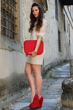 chic Carvela Heels, Red Accessories, Beige Dresses, Red Heels, Outfit Of The e35b8a268dad