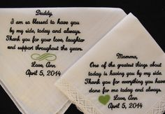 Mother and Father of the Bride Embroidered by InspiredStitches, $48.00