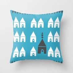 Simple Town Throw Pillow by Agata Winer   Society6