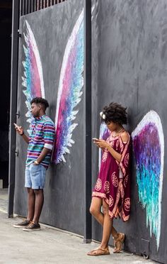 beautiful wings street art and texting