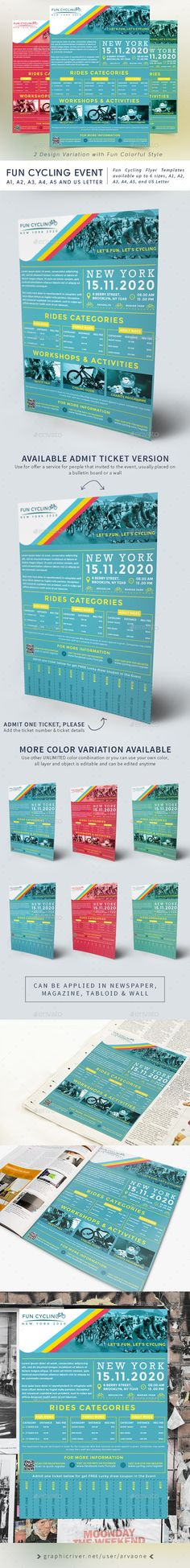Fun Cycling Event Flyer Design Templates - Sports Events Flyer Design Template PSD. Download here: https://graphicriver.net/item/fun-cycling-event-flyer-templates/19358811?ref=yinkira