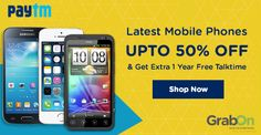 Paytm Deal of the Day: Upto 50% OFF on Mobile Phones + Get 1 Year Talktime for Free. Get this Now. Hurry!  #PaytmKaro #SmartphoneOffers #FreeTalktime #GrabOn