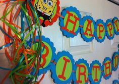Sponge Bob Squarepants Birthday Party Banner by FromBeths on Etsy, $23.75