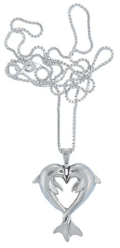 CM Sterling Silver Necklace Dolphin Heart Pair of Dolphins Pendant