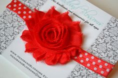 Super Cute Frayed Chiffon Red Flower on Red Dot Elastic Headband - Photo Prop - Newborn Infant Toddler - Red White - Valentine's Day
