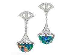 Oscar Heyman platinum opal and diamond drop earrings