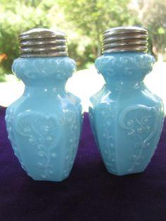 Antique EAPG Blue Milk Glass Salt Pepper Shakers Fern Leaf Scroll Libbey   eBay