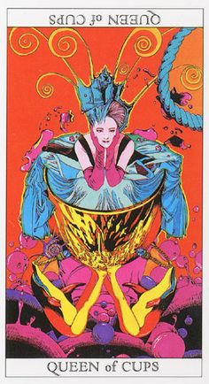 Love and Mystery Tarot by Yoshitaka Amano: Queen of Cups