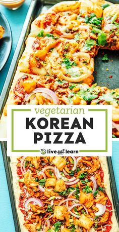 """Level up your pizza night with an Asian-inspired twist! This Korean Pizza recipe has all the fixin's - BBQ pulled """"pork"""", kimchi, and a gochujang tomato sauce (topped off with kimchi mayo for good measure!) #pizza #korean #kimchi #vegetarian Pizza Recipes, Vegetarian Recipes Easy, Korean Kimchi, Tomato Sauce, Pulled Pork, Bbq, Asian, Inspired, Barbecue"""