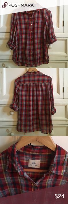 Anthropologie Paper Boy Plaid Button Down Anthropologie Paper Boy Plaid Button Down. Thin button down top! Perfect to layer beneath a sweater! Anthropologie Tops Button Down Shirts