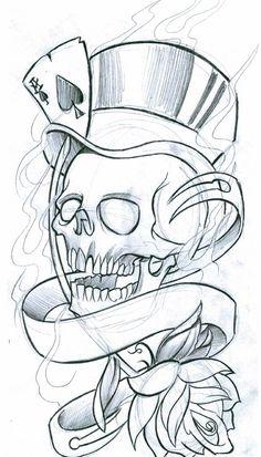 Skull Badass Drawings, Dark Art Drawings, Pencil Art Drawings, Art Drawings Sketches, Tattoo Sketches, Cute Drawings, Tattoo Design Drawings, Skull Tattoo Design, Skull Rose Tattoos