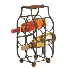 The Woodland Imports Rennes Metal Vertical 6 Bottle Wine Holder offers a handy wine caddy for picnics and outdoor parties. Crafted of sturdy iron alloy. Home Decor Accessories, Decorative Accessories, Wood And Metal, Solid Wood, Black Metal, Wine Bottle Rack, Wine Racks, Wine Bottles, Bottle Wall